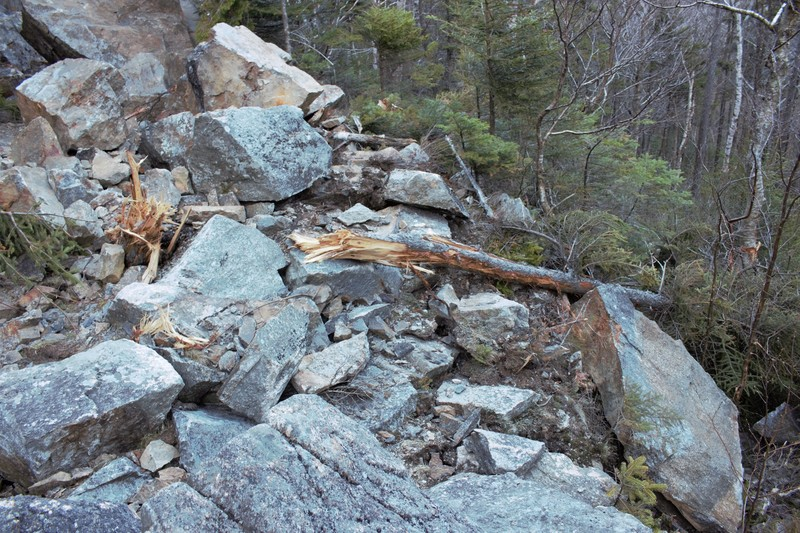 destruction from rockfall