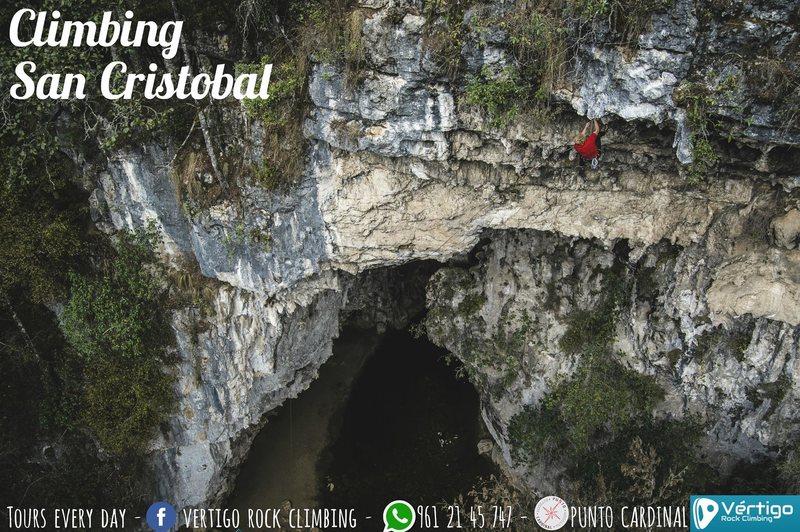 Martin climbing his route -Die unendliche Geschichte, 5.13a (The Never Ending Story), the first 5.13 in Chiapas!  <br> <br> For more information regarding climbing in Arcotete contact Vertigo Rock Climbing, Martin Siller on Facebook at &quot;Vertigo Rock Climbing&quot;, by email at VertigoRockClimbing@hotmail.com, or by Whatsapp at +52 (1) 9612145747.<br> <br> Feliz Escalada!