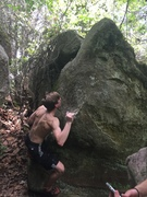 Rock Climbing Photo: hard to get established low, then up and over