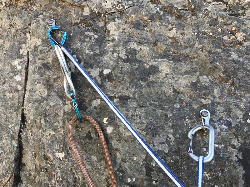 Two bolt anchor at top of crux pitch.