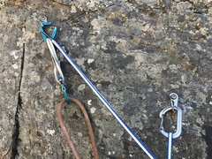 Rock Climbing Photo: Two bolt anchor at top of crux pitch.