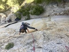 Rock Climbing Photo: Cool undercling traverse on pitch 1