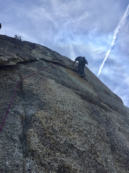 More undercling traverses on pitch 2, but this time on bad rock.