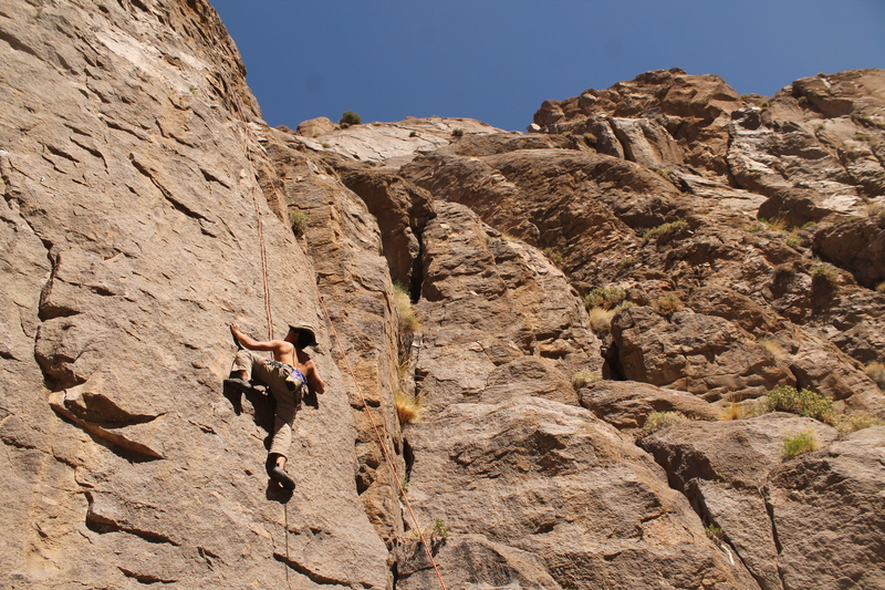 Marcus pulling on some tiny crimps which remain consistent for the first half of the climb.