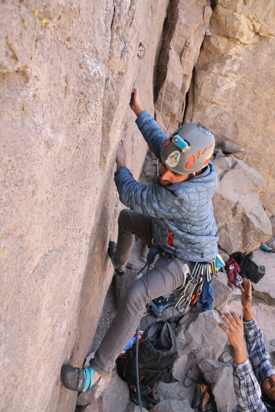 Alejandro finding something to work on the crux.