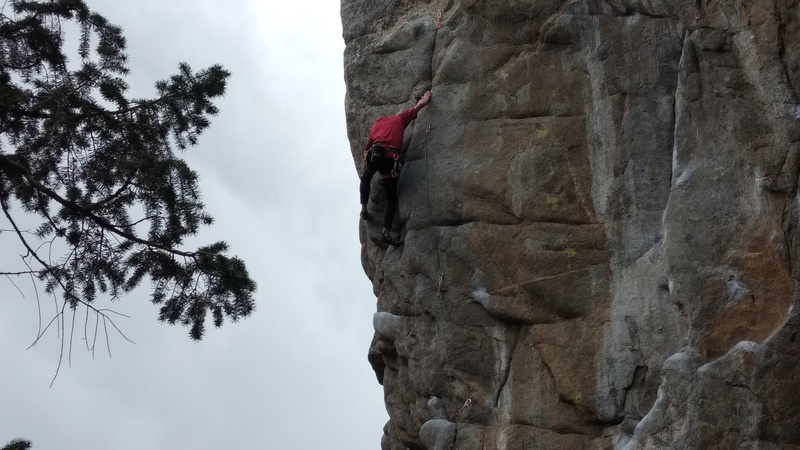 Rock Climbing Photo: Tony enters the crux of EOF...photo 1 of sequence.