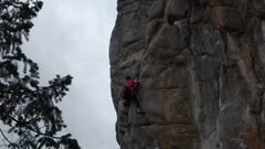 Tony at the crux of EOF...photo 2 of sequence.