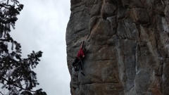Tony at the crux of EOF...photo 4 of sequence.