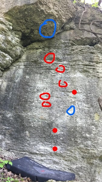 Rock Climbing Photo: Blue shows the approximate location of the start a...