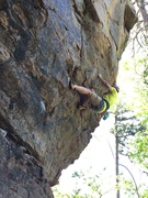 Rock Climbing Photo: Michael makes the clip on his redpoint attempt