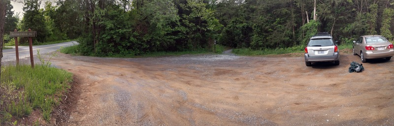 Pano view of parking lot at Buzzard Rocks trailhead.