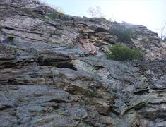 Rock Climbing Photo: Note the loose block outlined in red. Climb face l...