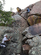 Rock Climbing Photo: Leap frogging a #4 camalot got me up a ways.