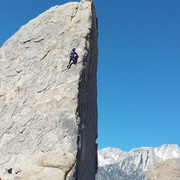Rock Climbing Photo: My 5 year old cleaning the climb. He made it to th...