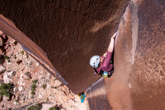 Rock Climbing Photo: MK working through the bulge!