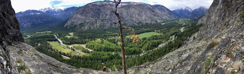 View from the top of the third pitch showing the tree that you walk past.