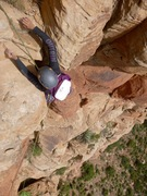 Rock Climbing Photo: Giselle reaching above the final bulge on P3.