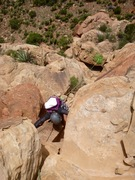 Rock Climbing Photo: P3: The Chossanneering Pitch. (Tag line is flaked ...