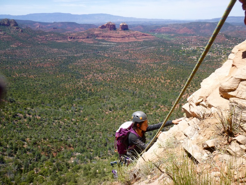Coming up to the first belay ledge with Cathedral Rocks as backdrop.