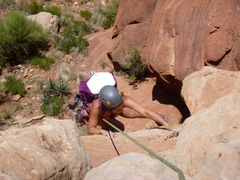 Rock Climbing Photo: Giselle at the bolt on P1.