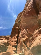 Rock Climbing Photo: Standing atop the mini-pillar on P1.