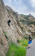 Rock Climbing Photo: Megan pausing to chalk up on He Who Double Crosses...