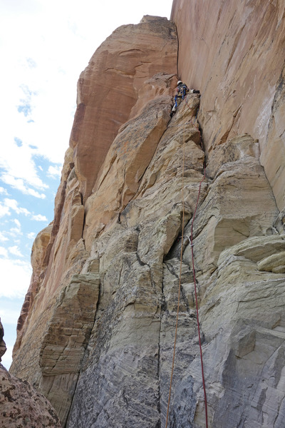 Rock Climbing Photo: Roy leading P1, before the clean handcrack corner.