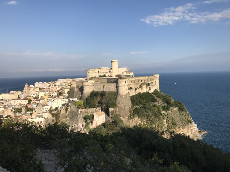"""The castle from one of the lookouts on the """"medieval trail""""."""