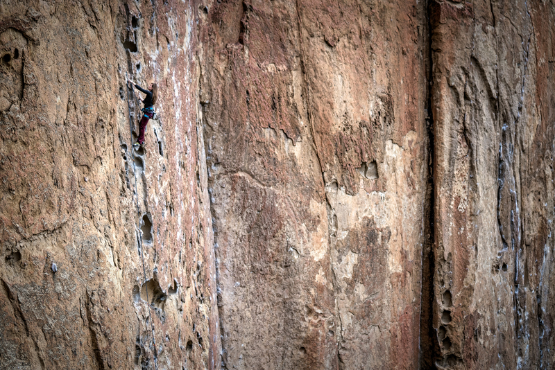 Rock Climbing Photo: DrJen on lead at Smith Rock's Five Gallon Buckets