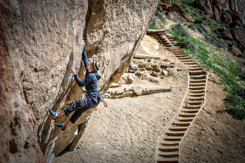 Rock Climbing Photo: John Hood with the dyno, on Heresy