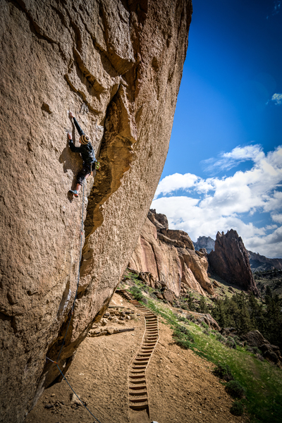 Rock Climbing Photo: John Hood coming to the crux, on Heresy