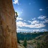 Ian M warming up on a beautiful Smith Rock morning on Phone Call from Satan