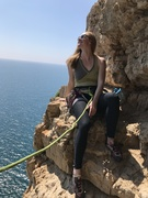 Rock Climbing Photo: Kristin Knudson takes a rest on Via Dello Spigolo