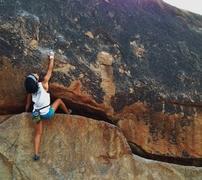 Rock Climbing Photo: Long traverse followed by a highball boulder probl...
