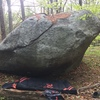 The side of the rock with Pendulum on it - facing the airsoft battlefield area