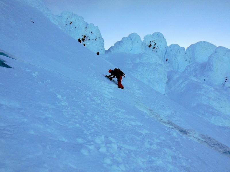 Darwin downclimbing, just above the bergschrund.