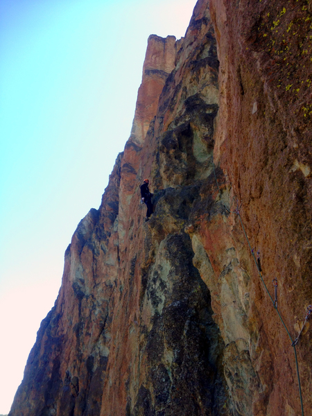 Ben belaying at the top of P3