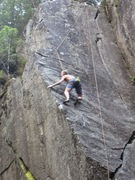 Bo Earle, TRing Slapshot (12a). On the upper (11+) section.
