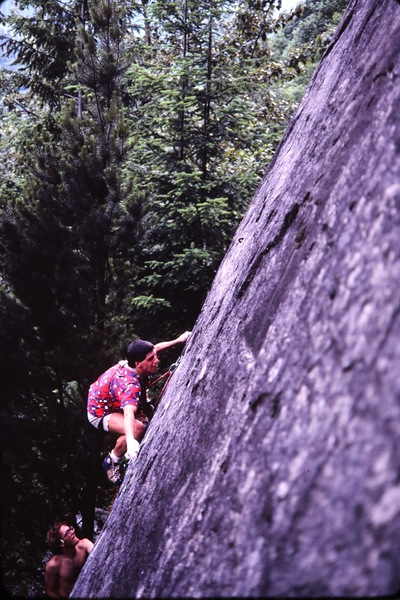 First ascent. Photo by Russell Erickson, belayer Greg Olsen.