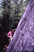 First ascent. Photo by Russell Erickson, belayer Greg Olsen.