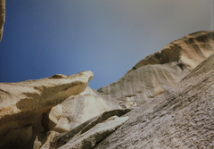 Rock Climbing Photo: The protruding stone one climbs under and around t...