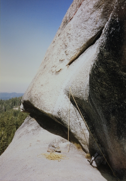 Rock Climbing Photo: At the end of the first ledge the Step up bolt. On...