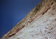 Rock Climbing Photo: Above the step up bolt two horns slung with a narr...