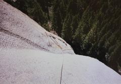 Rock Climbing Photo: Long slings draped over horns before climbing down...