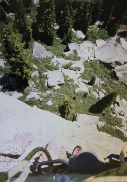Working my way over to the water chute on pitch two. First ascent photo.