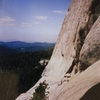 View of the big ledge The X Crack  and the top head wall. First ascent photo