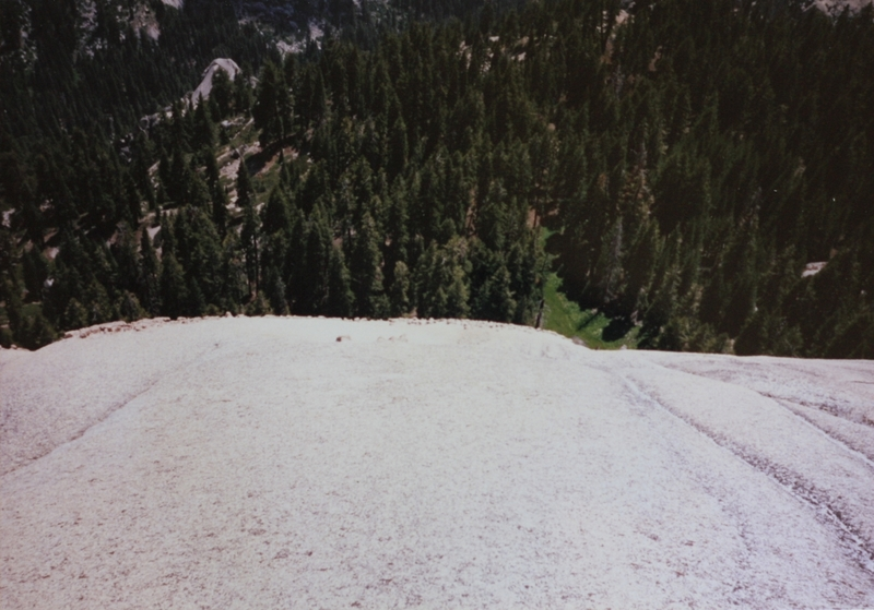 The spot where I toped out on Tokopah Dome. First ascent photo.