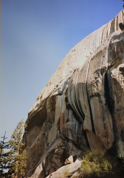 Spot the long dark thin line for at the top one can see the X Crack and the top head wall. First ascent photo.