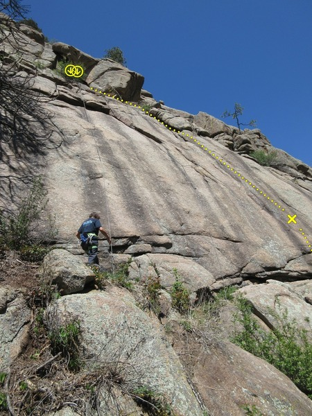 This route typically starts down where the trail meets the rock, rather than from this slightly upper tier.