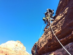 Rock Climbing Photo: Doug Goodrich starting pitch 3 of The Dark Tower i...